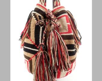 Vintage 90s Southwestern Market Bag Fringe Tassel Tassle Feed Bucket Bag Tote Red Black Beige