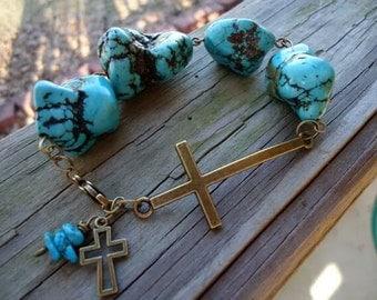 Turquoise double cross bracelet