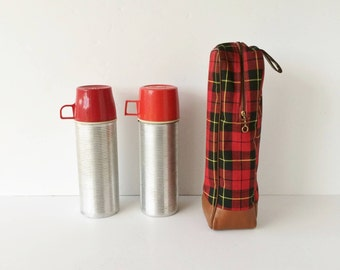 Two Vintage Thermos Bottles and Bottle Guard, Ribbed Metal Thermos Bottle and Tartan Plaid Carrier, Vacuum Bottles Model #2284 and #2284H