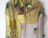 Christmas shawl,christmas gift,green shawl,silktulle shawl,handmade unique shawl,women,gift for her,silk shawl,green and green,fall leaves