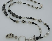 GUARDIAN ANGEL: Black White Natural Stone Agate Lanyard ID Holder Accessory Gift