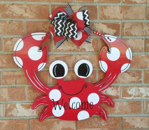 Crab Door Hanger Welcome Door Sign Beach Decor By