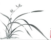 """Original Art """"Wild Orchid"""" - in Japanese style - sumi-e drawing with wash ink - Wall decor - bamboo brash on rice paper"""