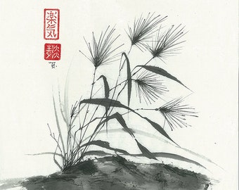 "Original Art ""Carefree grass"" - in Japanese style - sumi-e drawing with wash ink - Wall decor - bamboo brash on rice paper"