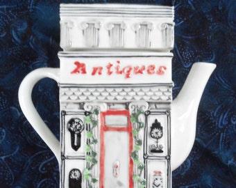 Vintage AntiqueTea Pot, Antique Black and White Tea Pot,