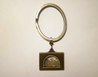 1 Silverplated Mercury Dime Key Ring