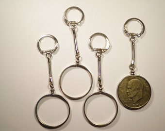 1 Silverplated U.S. Eisenhower and Liberty Dollar Coin Holder Coin Bezel Key Chains