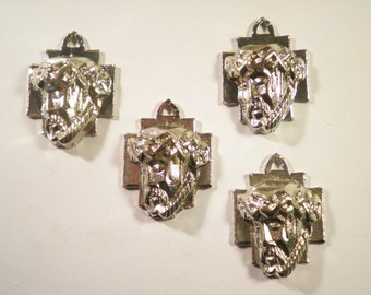 4 Silverplated 3d Face of Jesus Pendants