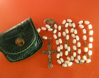 Antique  French rosary Chaplet Souvenir of Lourdes  Vintage religious catholic jewelry