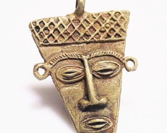 Face Pedant Made in Africa, Brass Lost Wax Pendant, Jewelry Supplies (Y117)