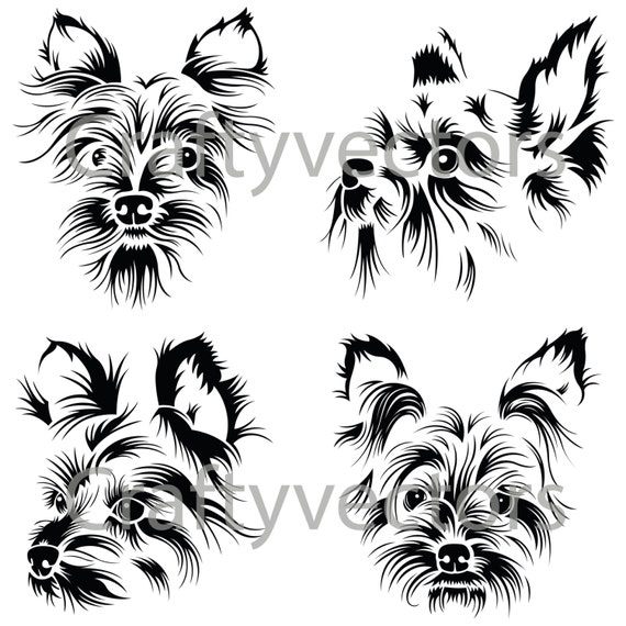 Line Drawing Of Yorkshire Terrier : Yorkshire terrier portraits vector file svg