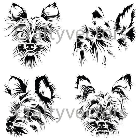 Yorkshire Terrier Portraits Vector File SVG