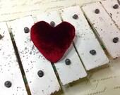 Valentines Day Gift Red silk velvet Heart Brooch
