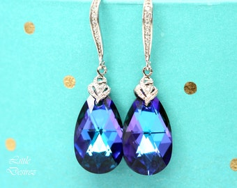 Blue Bridal Earrings Blue and Purple Earrings Swarovski Crystal Heliotrope Bridesmaid Gift Royal Blue Sterling Silver Cubic Zirconia HE32H