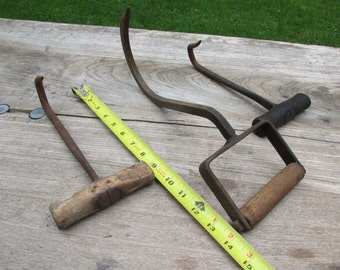 Hay Hook Three Vintage Farm Hay Hooks Tool with Wood Handles