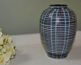 Vintage Pottery Vase Hand Painted Vase Modern Design