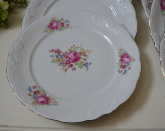 8-Vintage WAWEL CHINA Bread & Butter Plates Pink Roses WAV11 Made in Poland Gold Trim