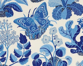 SCHUMACHER WILD BUTTERFLY Floral Insect Linen Toile Fabric 10 Yards Blue White