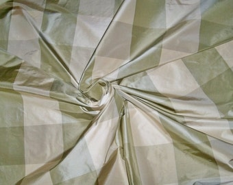 SCALAMANDRE BARANZELLI LILIANA Silk Taffeta Check Fabric 10 Yards Willow Green Cream