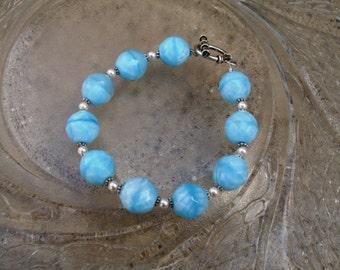 Glass Beaded Bracelet - Baby Blues (B240)