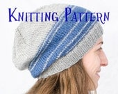 PDF Knitting Pattern - Linear Hat, Beanie Knitting Pattern, Knit Slouch Hat Instructions, Toddler to Adult Knit Beanie Pattern