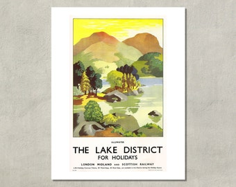 The Lake District For Holidays LMS British Travel Print - 8.5 x 11 Print -  also available in 11x14 and 13x19 - see listing details