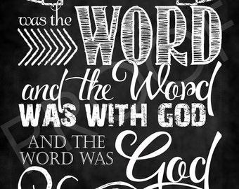 Scripture Art - John 1:1 ~ Chalkboard Style