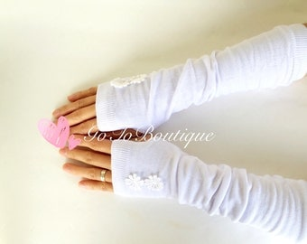 White Fingerless Arm Warmers-Fingerless Gloves-Womens Gloves-Bridal Gloves.