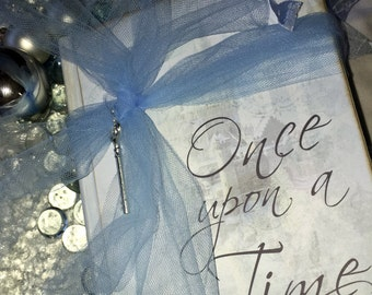 Winter wonderland wedding Once upon a time Fairy Tale Castle wedding guest book, vintage sign-in book