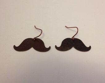 Bronze Mustache Earrings