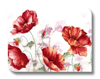 Floral paper napkin for decoupage x 1 Red poppy flowers . No 1289