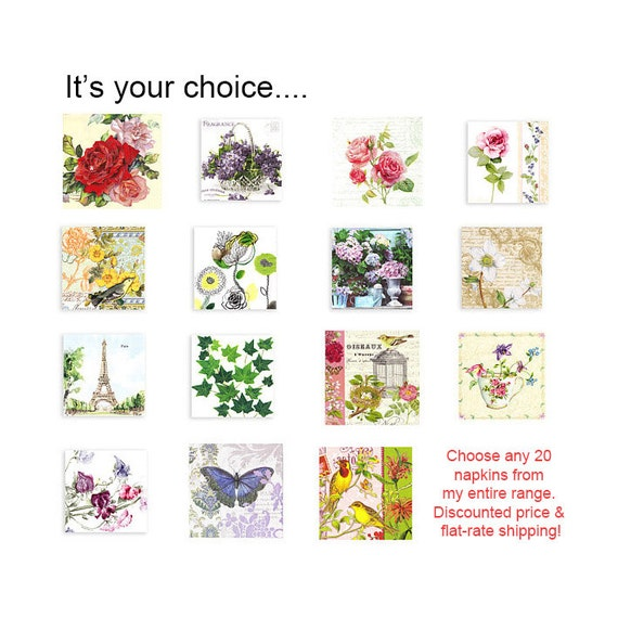 Twenty paper napkins at a discounted price. Choose any twenty.  Flat rate-shipping.