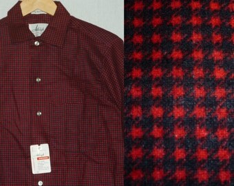 NOS / 1950s Shirt / S / Cotton Flannel / Rockabilly / New Old Stock / Deadstock / Work Shirt / Vintage Mens Shirt / Hunting / 1960s Shirt