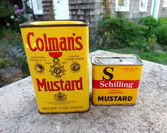 Set of two collectible mustard tins - empty, 1950's, Colman's and Schilling