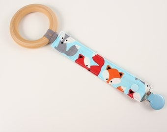 Foxes pacifier clip