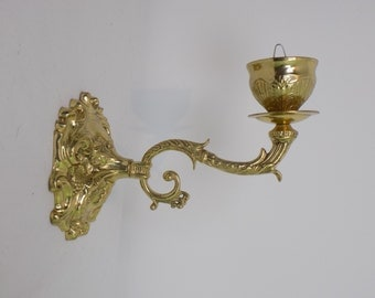 Ornate Vintage Mid Century Single Wall Mount Sconce - Hollywood Regency Home Decor - Victorian Style Candle Holder - Gold Tone Accessory