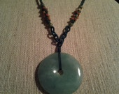 Large Jade Pendant Necklace Carnelian Stones