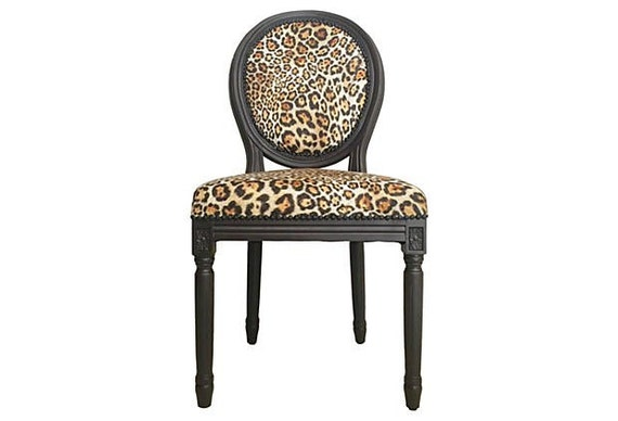 Items similar to aubergine and chettah print french louis for Printed upholstered dining chairs
