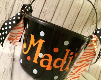 Trick or Treat Bucket Halloween Personalized Monogrammed Frankenstein Candy Corn