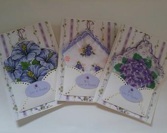 Bridesmaid Gift Thank You Vintage Wedding Handkerchief Lot Lavender Floral Keepsake Gift Hanky Accessory Card