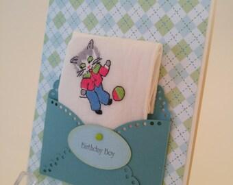 Retro 1950 Vintage Embroidered Keepsake Children's Handkerchief Kitten Baby Nursery Decor 1st Birthday Baptism Christening Keepsake Card