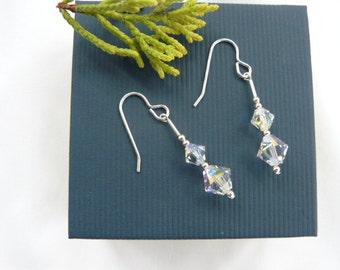 Swarovski Crystal and Sterling Silver Earrings. Made in Scotland by DiannesJewellery. Sparling Evening wear earrings.