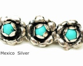 Flower Bar Brooch sterling Silver Turquoise Mexico