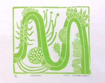 linocut - PATH - 8x8 / printmaking / block print / green / nature art