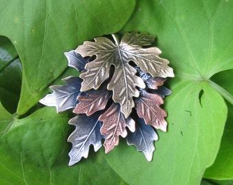 Maple Leaves Brooch- Maple Leaf Pin- Fall Jewelry- Fall Pin- Pin Pendant- Leaves Brooch- Leaves Pin- mixed metal jewelry