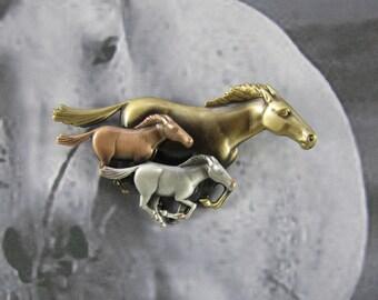 Horses Brooch- Running Horses- Wild Horses- Horse Lovers Gift- Equine