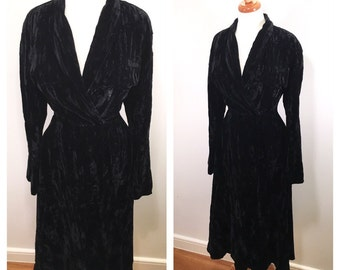 Black Velvet Norma Kamali Midi Dress Vintage 1980s 1990s Kamali Wrap Dress Velvet Party Dress Long Sleeve Robe Dance Dress Small Medium