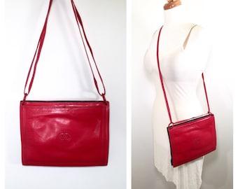 Valentino Red Leather Crossbody Bag Vintage 1980s Valentino Garavani Purse Le Sacs Red and Blue Envelope Handbag Italian Designer Purse