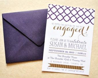 Engagement Invitation Printable, Engagement Party Invitations, Vintage Engagement Invite, Engagement Announcement, DIY Printable Digital