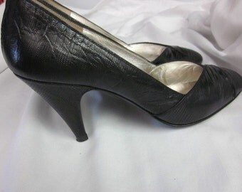 BRUNO MAGLI PUMPS Size 7.5 A A Black reptile All leather made in Italy G S
